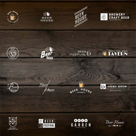 Beer badges   labels for any use,   templates and design elements for beer house, bar, pub, brewing company, brewery, tavern, restaurant, on wooden background texture