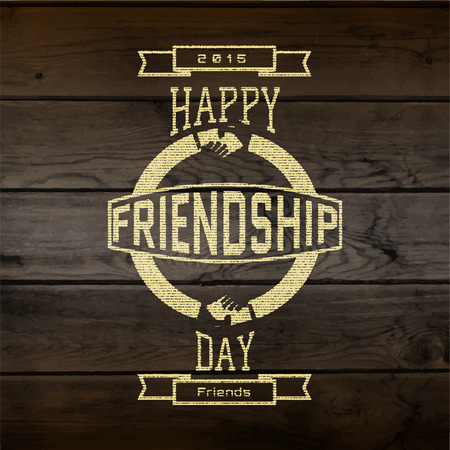 eg: Friendship day badges labels for any use, eg for design of cards or presentations, on wooden background texture Illustration