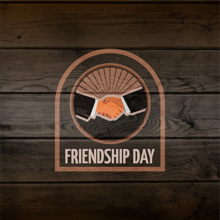 friendship day: Friendship day badged labels for any use, eg for design of cards or presentations, on wooden background texture Illustration