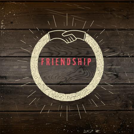 amicizia: Amicizia badge etichette per qualsiasi uso, ad esempio per la progettazione di schede o presentazioni, sullo sfondo struttura di legno