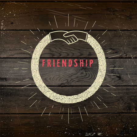 eg: Friendship badges   labels for any use, eg for design of cards or presentations, on wooden background texture