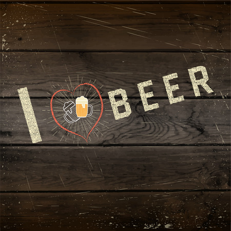 wood craft: I love beer badges   labels for any use,  templates and design elements for beer house, bar, pub, brewing company, brewery, tavern, restaurant, on wooden background texture Illustration