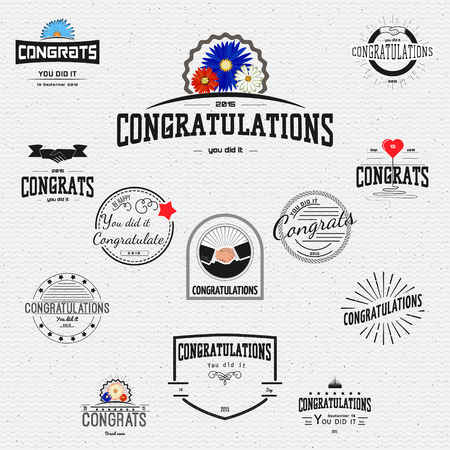 felicitaciones: Enhorabuena insignias tarjetas y etiquetas para cualquier uso, se puede utilizar para crear tarjetas de felicitación y presentaciones