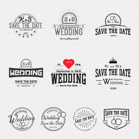 insignes de mariage cartes et des étiquettes, peut être utilisé pour concevoir des cartes de mariage, des présentations, des invitations, Illustration