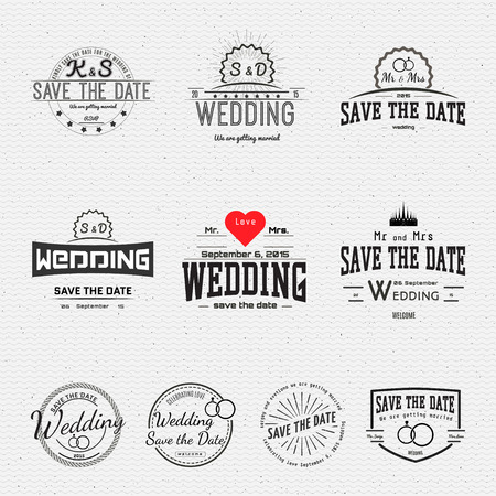 stamp collection: Wedding badges cards and labels, can be used to design wedding cards, presentations, invitations, Illustration