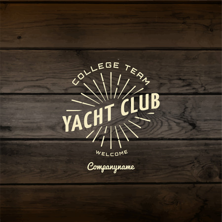 mariner: Yacht club badges and labels for any use, On wooden background texture