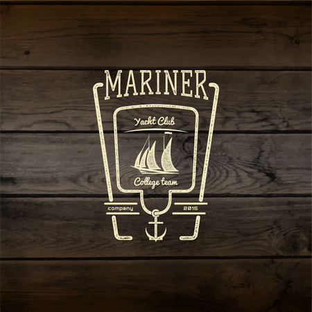 mariner: Mariner club badges and labels for any use, On wooden background texture Stock Photo