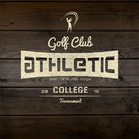 sports background: Golf club badges logos and labels for any use. On wooden texture