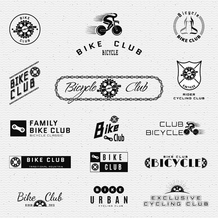 bicycle gear: Bicycle badges and labels for any use, isolated on white background. Illustration