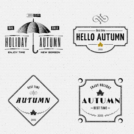 during: Autumn badges and labels can be used to design packages of goods during autumn sales