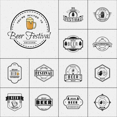 Beer festival badges logos and labels for any use, logo templates and design elements for beer house, bar, pub, brewing company, brewery, tavern, restaurant. Stok Fotoğraf - 43675277