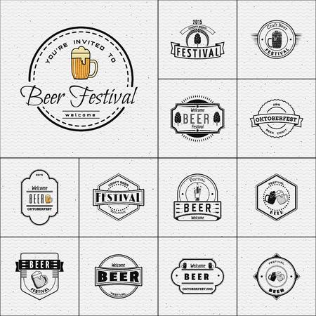 logos restaurantes: Fiesta de la cerveza insignias logotipos y etiquetas para cualquier uso, plantillas de logotipo y elementos de diseño para la casa de la cerveza, bar, pub, elaboración de la cerveza de la empresa, cervecería, taberna, restaurante.
