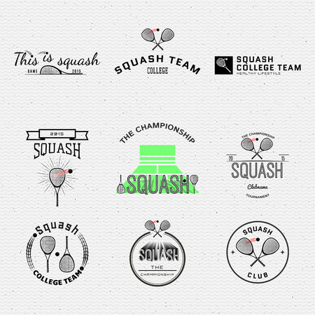 racket sport: Squash badges  and labels can be used for design, presentations, brochures, flyers, sports equipment, corporate identity, sales Illustration