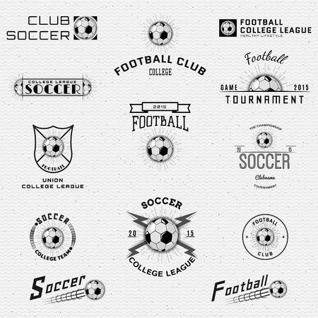 Football, badges et étiquettes de football peuvent être utilisés pour la conception, présentations, brochures, dépliants, matériel de sport, l'identité de l'entreprise, les ventes Banque d'images - 43926758