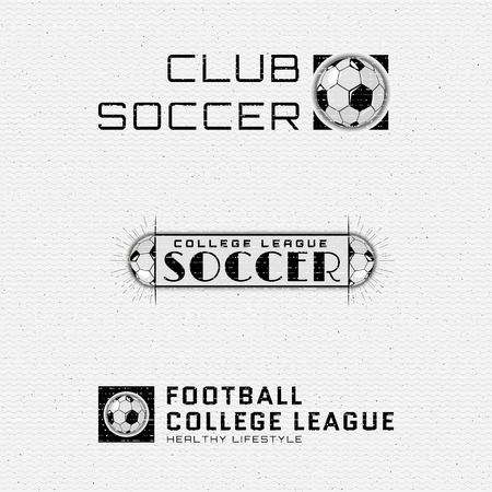 be the identity: Football, Soccer badges and labels can be used for design, presentations, brochures, flyers, sports equipment, corporate identity, sales Illustration