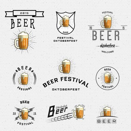 Insignes du festival de la bière et des étiquettes pour toute utilisation, des modèles et des éléments de design pour la maison de la bière, bar, pub, Brewing Company, une brasserie, une taverne, un restaurant. Vecteurs