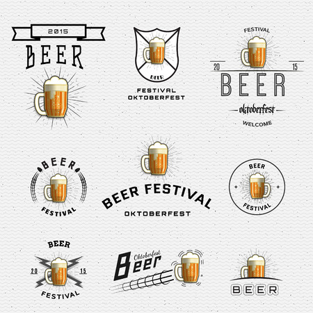 Beer festival badges  and labels for any use,  templates and design elements for beer house, bar, pub, brewing company, brewery, tavern, restaurant. Illustration