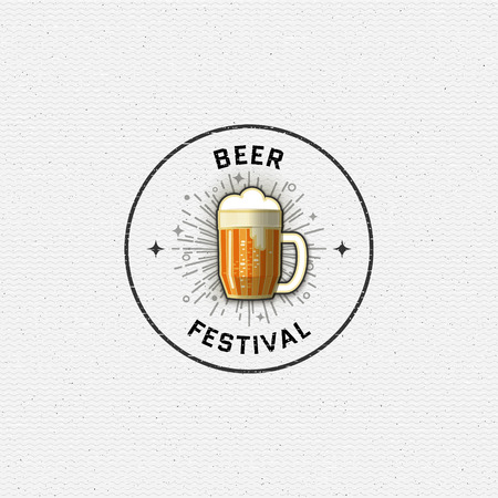 brewing: Beer festival badges  and labels for any use, templates and design elements for beer house, bar, pub, brewing company, brewery, tavern, restaurant. Illustration