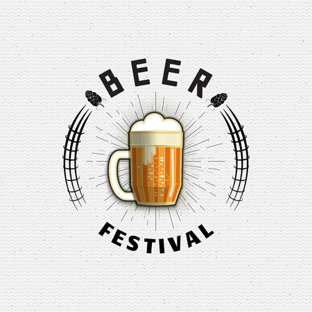 beer house: Beer festival badges  and labels for any use,  templates and design elements for beer house, bar, pub, brewing company, brewery, tavern, restaurant. Illustration
