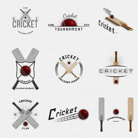 mania: Cricket badges   and labels can be used for design, presentations, brochures, flyers, sports equipment, corporate identity, sales