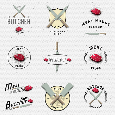 pork meat: Meat store badges logos and labels for any use, for example, to design your store Illustration