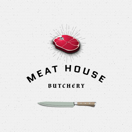 for example: Meat store badges logos and labels for any use, for example, to design your store Illustration