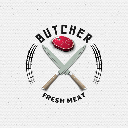Meat store badges logos and labels for any use, for example, to design your store Çizim