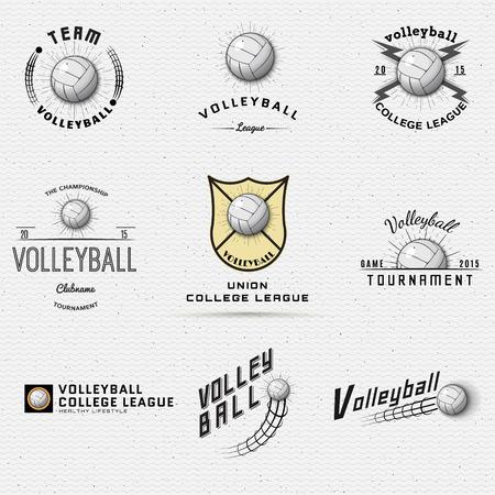 Volleyball Abzeichen-Logos und Etiketten für Design, Präsentationen, Broschüren, Flyer, Print, Sportgeräte, Corporate Identity, Vertrieb verwendet werden Standard-Bild - 44123830