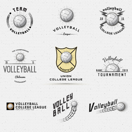 Volleyball badges logos and labels can be used for design, presentations, brochures, flyers, print, sports equipment, corporate identity, sales Ilustracja