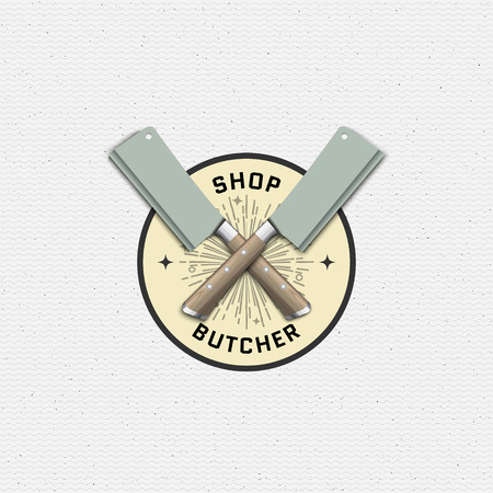 deli meat: Meat store badges logos and labels for any use, for example, to design your store Illustration
