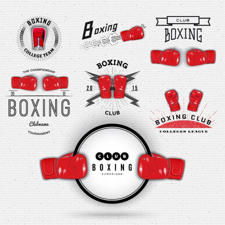 Boksen badges labels kunnen worden gebruikt voor het ontwerp mode, borden voor sportclubs, sales Stock Illustratie