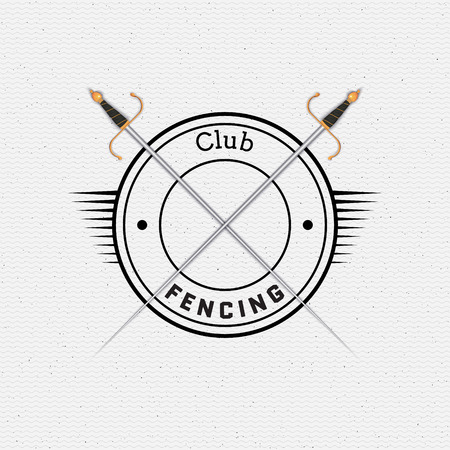 swordsmanship: Fencing badges logos and labels can be used to fashion design, signs for sports clubs, sales