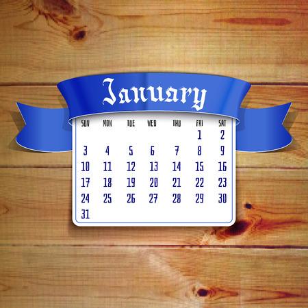 calendar template: January 2016 calendar template to design your workspace at the pixel wooden background.