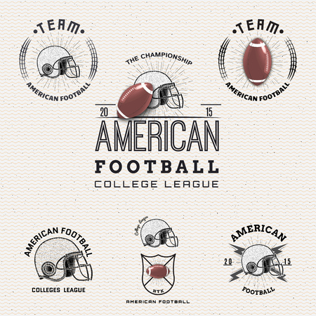 used clothes: American Football badges logos and labels It can be used to design prints on clothes Illustration