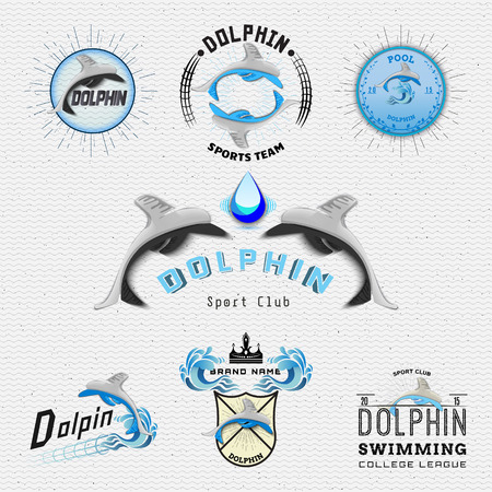 Dolphin badges logos and labels It can be used for product design, team name, and clubs Çizim