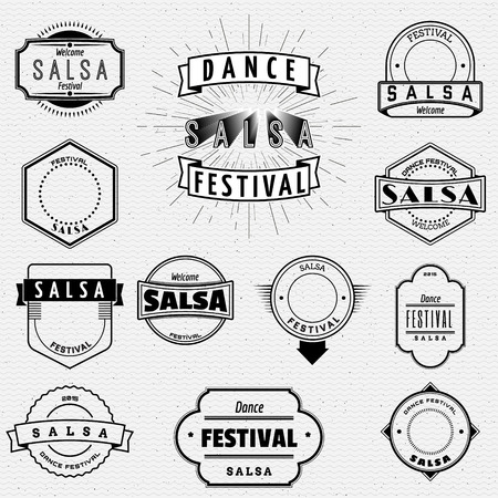 salsa: Dance Festival salsa badges insignia  and labels for any use