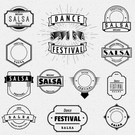 bailando salsa: Festival de Danza de salsa insignias insignias y las etiquetas para cualquier uso