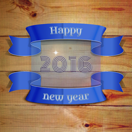 happy new year banner: Happy New Year 2016 emblem, banner, badge pixel-phono wooden planks, can be used as part of the design of sales, in the printing, on websites