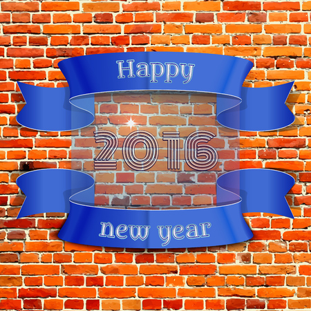 happy new year banner: Happy New Year 2016 emblem, banner, badge pixel-brick wall background, can be used as part of the design of sales, in the printing, on websites