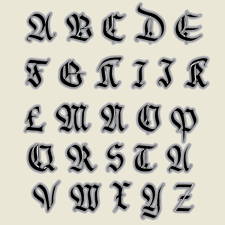 gothic style: Set Gothic abc.. gothic, handmade, can be used to design greeting cards and other products packaging