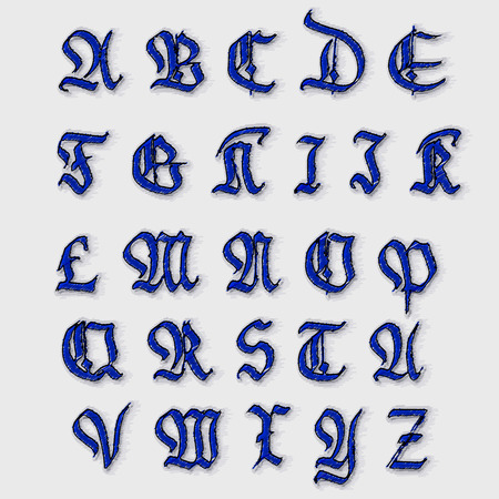 old english letter alphabet: Set Gothic abc..  handmade, can be used to design greeting cards and other products packaging