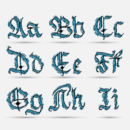 Set Gothic abc..  handmade, can be used to design greeting cards and other products packaging