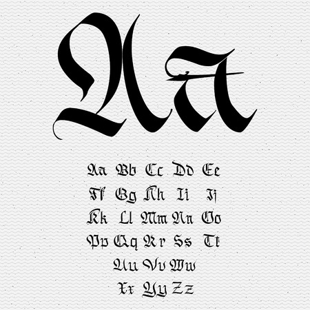 Set abc gothique .. gothique, fait main, peut être utilisé pour concevoir des cartes de voeux et autres produits d'emballage Banque d'images - 46483606