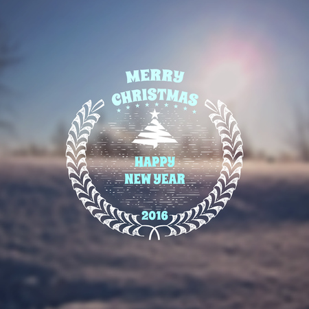 soft background: Merry christmas  and happy new year 2016 soft background of a winter landscape insignia  and labels for any use