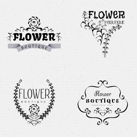 decorative element: Flower Boutique insignia  and labels can be used for design of the boutique, salon, studios flowers and floral products