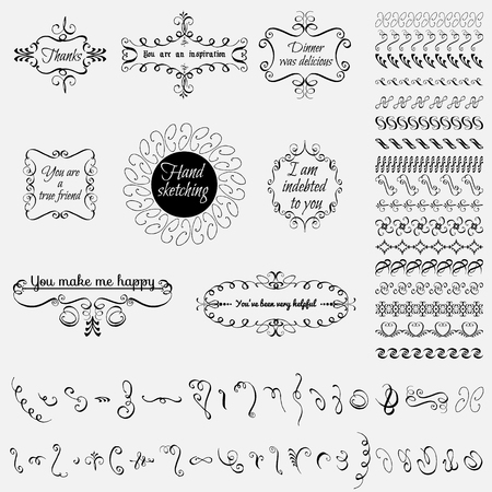 sketched arrows: Collection of hand-drawn elements, floral, calligraphic elements, catchwords, exploding rays, wreaths and more