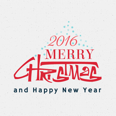 ruling: Merry christmas  and happy new year 2016 insignia  and labels for any use, written by ruling pen