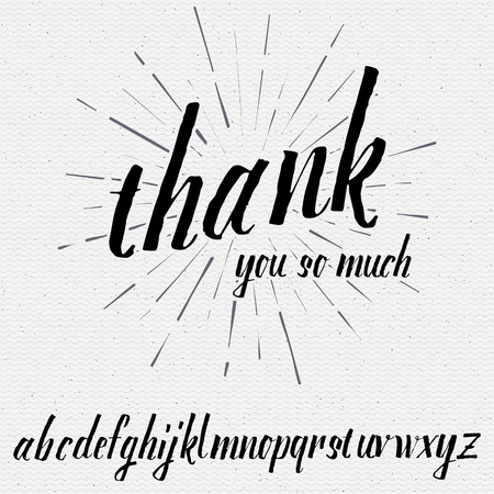 so: Thank you so much Script lettering font, handwritten calligraphic alphabet, It can be used for your design Illustration