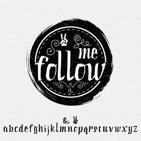 Alfabeto y las insignias - sígueme, Puede ser utilizado para diseñar tarjetas de felicitación, sitios web, branding e identidad corporativa
