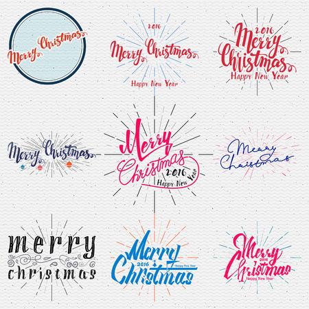 happy new year: Frohe Weihnachten und glückliches neues Jahr 2016 Abzeichen und Etiketten für jeden Einsatz Illustration